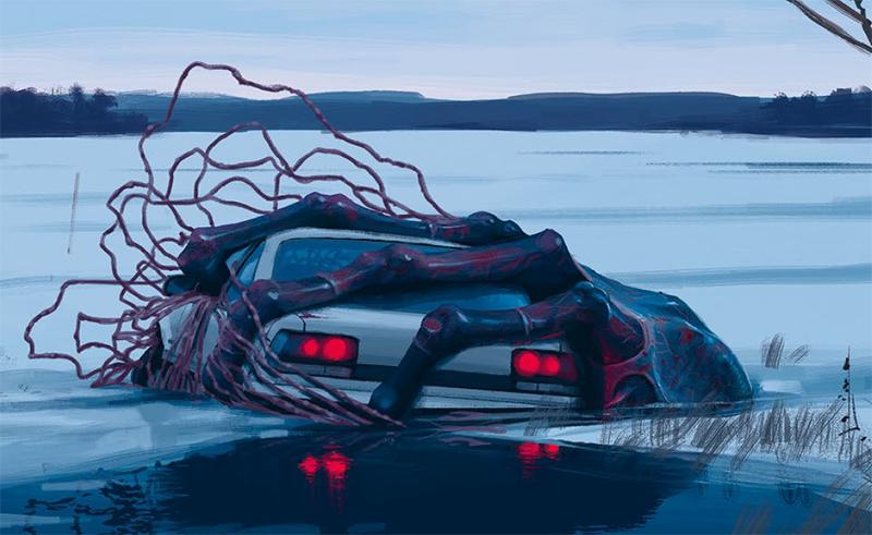 samochód po lodem